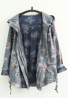 grey-floral-print-zipper – New York Fashion New Trends Looks Style, Looks Cool, My Style, Pretty Outfits, Cute Outfits, Fall Outfits, Look Fashion, Womens Fashion, Mode Hijab