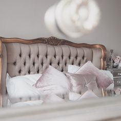 Hi Georgia here again from @MadameMathieu. Here's my pride and joy...my French Bedroom Company Versailles Luxury Upholstered Bed. We have teamed the bed with mirrored furniture all around our bedroom to reflect natural light and create a glamourous feel i
