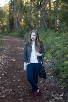 Everyday Style Fall Outfit: Military Jacket, Skinny Jeans, & Oxblood Boots