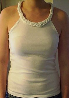 Transform long sleeve tee into braided neckline halter top #refashion #upcycle