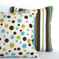 Pillow Covers - Blue Brown Decorative Pillow Cases - Blue Brown Green Dots Stripes, Reversible with Zipper