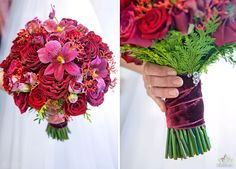 Rich red wedding bouquet made of roses mixed with Cambria orchid