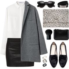 Black leather skirt, white shirt, grey blazer, black loafers/brogues. Discover and share your fashion ideas on www.popmiss.com