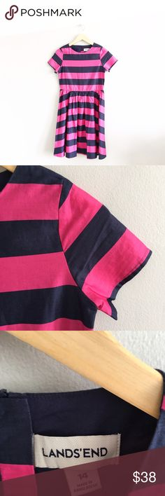 """Lands End Striped Cotton Fit 'n Flare Dress 100% cotton. Chest: 32"""". Length: 36"""".Gently pre-loved with no rips or stains. Please see all pictures for an accurate description of condition. *04382700349* Lands' End Dresses"""