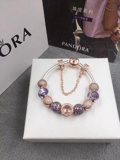 Pandora purple theme charm bracelet 9pcs charms