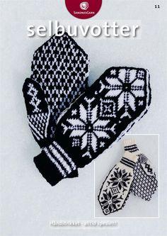 Kit 11 - Selbuvott Voksen Pattern in Norwegian Sweater Mittens, Fingerless Mittens, Knitted Gloves, Knitting Room, Knitting Stiches, Hand Knitting, Knitting Designs, Knitting Projects, Knitting Patterns