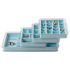 Light Blue Stacking Jewelry Tray System | The Container Store