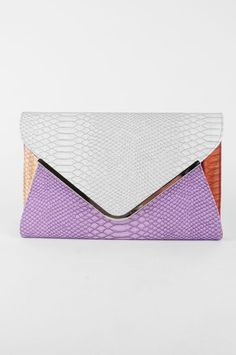 Snakeskin Embossed Spring Colorblocked Envelope Clutch