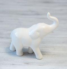 Vintage Porcelain Elephant Figurine, White Elephant sculpture, collectible, home decor