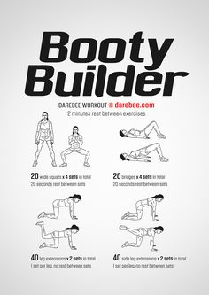 ab workouts - Booty Builder Workout by DAREBEE darebee workout fitness Carola Fitness Hacks, Fitness Workouts, Fitness Motivation, Glute Workouts, Killer Leg Workouts, Body Workouts, Boxing For Fitness, Fitness Goals, Revenge Body Workout