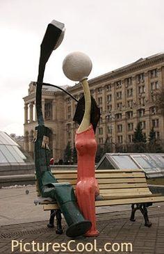 Kiev, Ukraine. Street lights in Love.