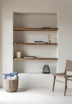 #Color trend 2020 #Neutrals #storage baskets #timbers #chair #elegant simplicity