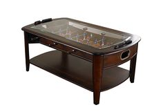 Foosball Coffee Table: Constructed from solid hardwoods, it's a real, working foosball game under the glass.