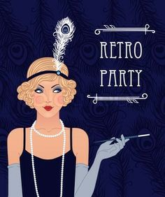 "Buy the royalty-free Stock vector ""Retro party invitation design with a flapper girl"" online ✓ All rights included ✓ High resolution vector file for pr. Estilo Charleston, Style Année 20, 1920 Style, Gatsby Style, Holiday Party Themes, Party Ideas, Fashion Illustration Face, Gatsby Party, Flapper Party"