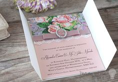 idea to make your own DIY wedding invitations and wedding stationery. Vintage style DIY invitation with flowers, cameo and lace