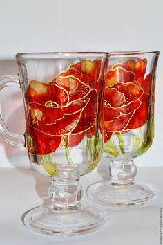 """Бокалы, стаканы ручной работы. Ярмарка Мастеров - ручная работа. Купить Бокалы """"Маки"""". Handmade. Ярко-красный, ручная роспись"""