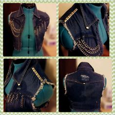 Diy Jean Vest W/Studs and Chains