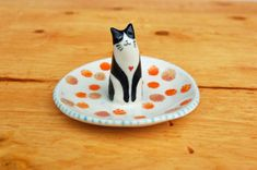 Shops, Cat Ring, Animal Rings, Ring Dish, Jewelry Holder, Small Gifts, Ceramic Pottery, Tuxedo, Valentine Gifts