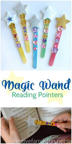 Your new readers will love making their own Magic Wand Reading Pointers that they can use to keep their place while reading. easy crafts for kids creative Magic Wand Reading Pointers - Creative Family Fun Craft Stick Crafts, Easy Crafts, Diy And Crafts, Magic Crafts, Magic Wand Craft, Magic Wands, Craft Sticks, Creative Crafts, Popsicle Stick Crafts For Kids