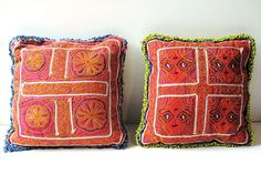 Pair Handmade Vintage Tribal Textile Pillows from by oldsilkroute