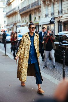 The Benefits & Joys Of A Really, Really Good Coat #refinery29 http://www.refinery29.com/vintage-style-coat#slide-4 Once worn with opera gloves and a gown, this brocade evening coat looks fresh with a button-up and sneakers....