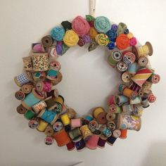 Wreath made from grandmother's spools. So cute! ||Tina Neese||