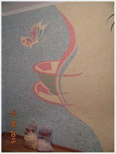 «Цветы и бабочка» ремонт своими руками с шелковой штукатуркой SILK PLASTER