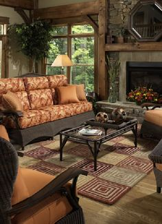 Outdoors upholstered furniture used indoors when durability, easy care matters. Woolrich Home