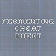 Fermenting cheat sheet