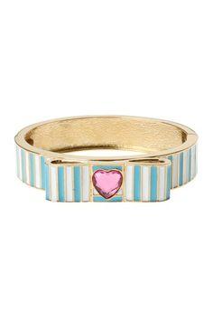 Stripe Heart Hinged Bangle by Betsey Johnson Jewelry & Watches on @HauteLook