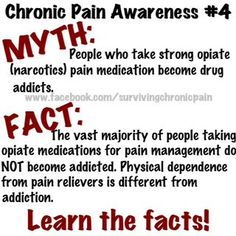 Dependence for a chronic pain patient IS NOT the same as addiction for someone who was given narcotics for acute pain!