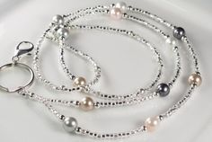 Beaded Lanyard MADEMOISELLE Pearls and Glass ID by curlynetto, $15.99
