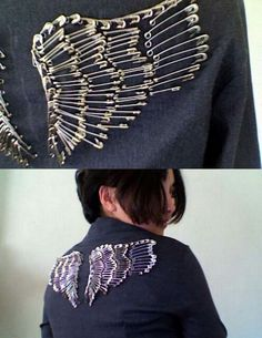 Use safety pins to update an old boring collared denim shirt. Paint pins with nail polish to add your favorite colors.