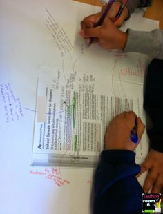 kids create text-based opinion posters.  Basically, they take the article they are reading, highlight important phrases that illicit a response from them, then write their opinion of the evidence on the poster.
