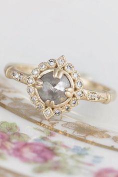 Vintage Halo Engagement Ring - Grey Diamond Halo Ring (Frederica): Available in 14K yellow gold, 14K rose gold or 14K white gold. Traditional white diamond (rose cut) is also available. #engagementrings #artdecowedding #artdeco #weddingplanning #roughluxe #vintagewedding #diamondring #greydiamond #vintagering #haloring
