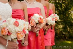 Coral Wedding Bouquet l Coral Wedding near Kansas City Jamie K! Photography www.jamiekphoto.com