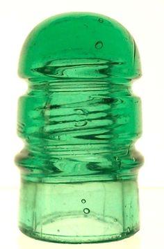 "CD 112 B ""Keg"" Light Green Antique Glass Telegraph Insulator RARE COLOR!"