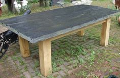 Slate garden tables in different heights