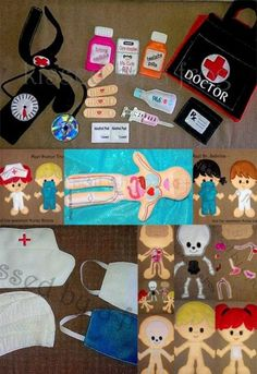 Felt Doctor / Nurse Set - pic only Felt Diy, Felt Crafts, Diy Quiet Book, Activities For Kids, Crafts For Kids, Child Life Specialist, Felt Quiet Books, Homemade Toys, Diy For Girls