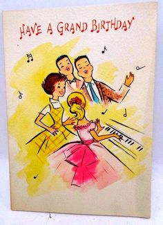 "VINTAGE UNUSED BIRTHDAY PARTY RETRO LOOK - ""Have A Grand Birthday"" Card w/env. FOR SALE • $5.00 • See Photos! Money Back Guarantee. Old Store Stock. A Vintage Gibson Retro Look Birthday card. Nice 50's old fashioned look of 2 young couples around a piano ""In the swing and right in key"" it 322451486244"