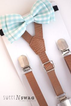 SUSPENDER & BOWTIE SET.  Newborn - Adult sizes. Light brown pu leather suspenders. Aqua gingham bow tie.
