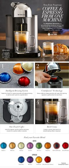 Nespresso VertuoLine - I have this exact machine and LOVE it!! It makes the best espresso, lattes and cups of coffee (iced or hot). I love that the decaf coffee pods are made using the Swiss press method (no chemicals)! Best machine ever!! <3