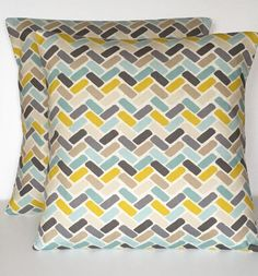 2 x Clarke & Clarke Maya Chartreuse Lime Blue Grey Cream Cushion Covers