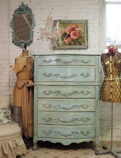 Vintage Painted Cottage Aqua Chic French Provincial Dresser
