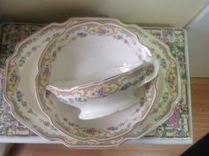 MT CLEMENS Pottery~~~MILDRED from the 1920's.     Large platter, vegetable bowl and gravy boat