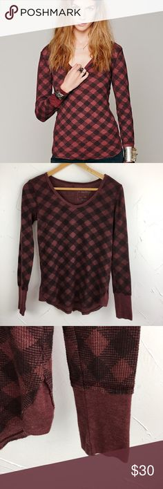 """We the Free Plaid Buffalo Check Thermal XS Perfect for spring!! Red and black buffalo check Plaid thermal top. Contrasting sleeve hens and trimming around the neckline. Relaxed easy fit. Amazing layering piece. 50% cotton and 50% polyester. 25"""" long. Great condition- no flaws. Ships same day from a smoke free home! No trades 🎀 Free People Tops Tees - Long Sleeve"""
