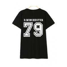 Letter Number Pattern Round Neck Short Sleeve Loose Cotton Unisex... ($22) ❤ liked on Polyvore featuring tops, t-shirts, cotton tees, short t shirt, loose fit tees, unisex t shirts and round top