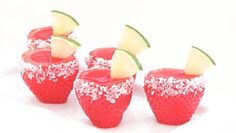 Strawberry Margarita Jelly Shots:  2 punnets of strawberries  1 box strawberry jelly  240 ml tequila,  240 ml water  Sugar and sliced lime for garnish