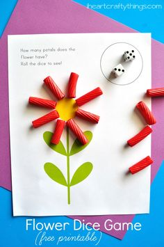 Preschool Math Activity: Flower Dice Game Printable Use this preschool Flower Math Game to practice counting. Roll the dice and add that many petals to the flower. Free printable is included. Preschool Math Games, Numbers Preschool, Preschool Lessons, Preschool Activities, Articulation Activities, Therapy Activities, Teaching Math, Preschool Garden, Free Games For Kids