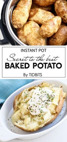 Instant Pot Baked Potato + Best Potato to Use : The Instant Pot is how you get the most perfect baked potato every single time. Fluffy, and fast, Instant Pot Baked Potato is the most perfect baked potato Pressure cooker Pressure Cooker Baked Potatoes, Stovetop Pressure Cooker, Pressure Cooker Recipes, Pressure Cooking, Slow Cooker, Best Baked Potato, Perfect Baked Potato, Sweet Potato, Instant Pot